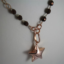 .925 RHODIUM SILVER NECKLACE, ROSE GOLD PLATED, STAR PENDANT, BROWN CRISTALS. image 3