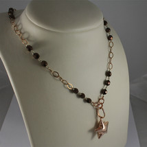 .925 RHODIUM SILVER NECKLACE, ROSE GOLD PLATED, STAR PENDANT, BROWN CRISTALS. image 2