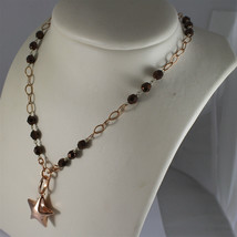 .925 RHODIUM SILVER NECKLACE, ROSE GOLD PLATED, STAR PENDANT, BROWN CRISTALS. image 4