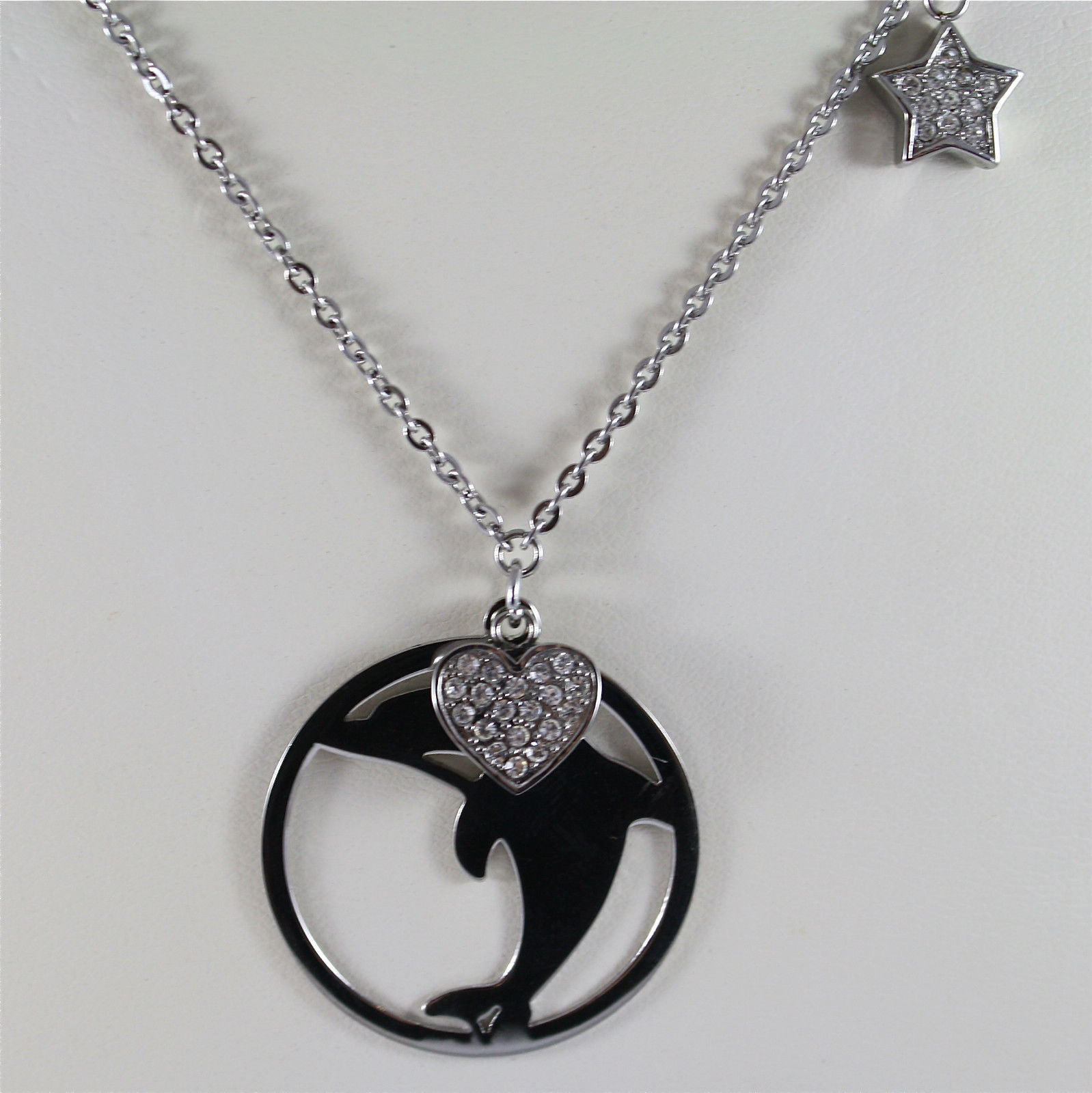 S'AGAPO' NECKLACE, 316L STEEL, DOLPHIN AND HEART, CHARMS, FACETED CRYSTALS.