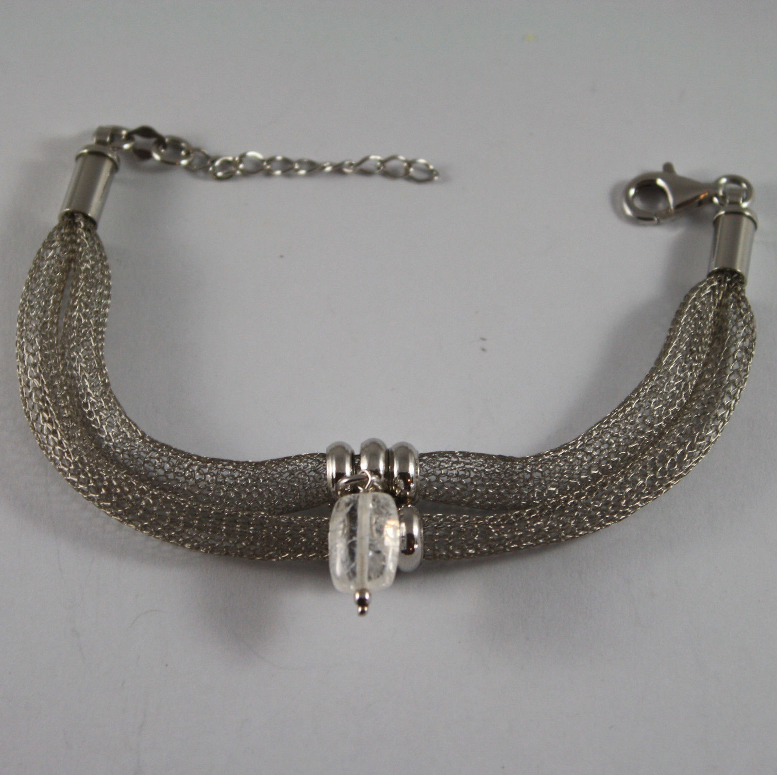 .925 RHODIUM SILVER BRACELET WITH TUBULAR MESH AND TRANSPARENT CRACK CRYSTAL