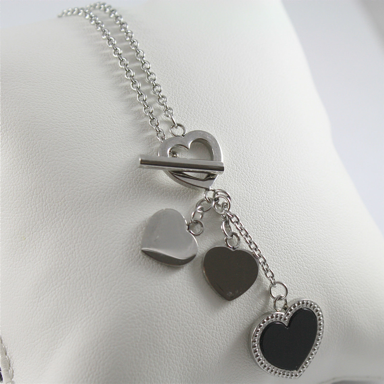 S'AGAPO' NECKLACE, 316L STEEL, BLACK GLAZED HEART, HEART CHARMS, SCARF STYLE.
