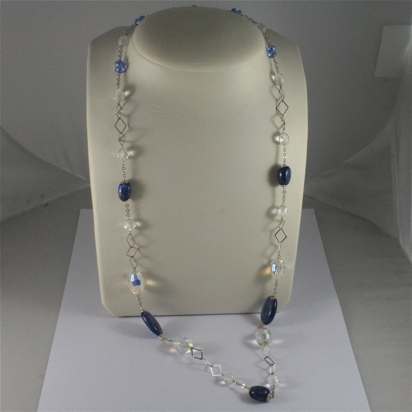 .925 SILVER RHODIUM NECKLACE, 29,53 In, KYANITE, FACETED CRYSTALS, MIXED MESH.