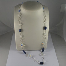 .925 SILVER RHODIUM NECKLACE, 29,53 In, KYANITE, FACETED CRYSTALS, MIXED MESH. image 1