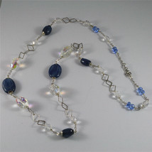 .925 SILVER RHODIUM NECKLACE, 29,53 In, KYANITE, FACETED CRYSTALS, MIXED MESH. image 4