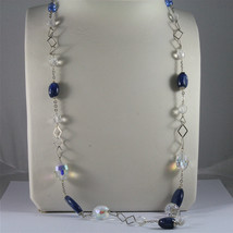 .925 SILVER RHODIUM NECKLACE, 29,53 In, KYANITE, FACETED CRYSTALS, MIXED MESH. image 3