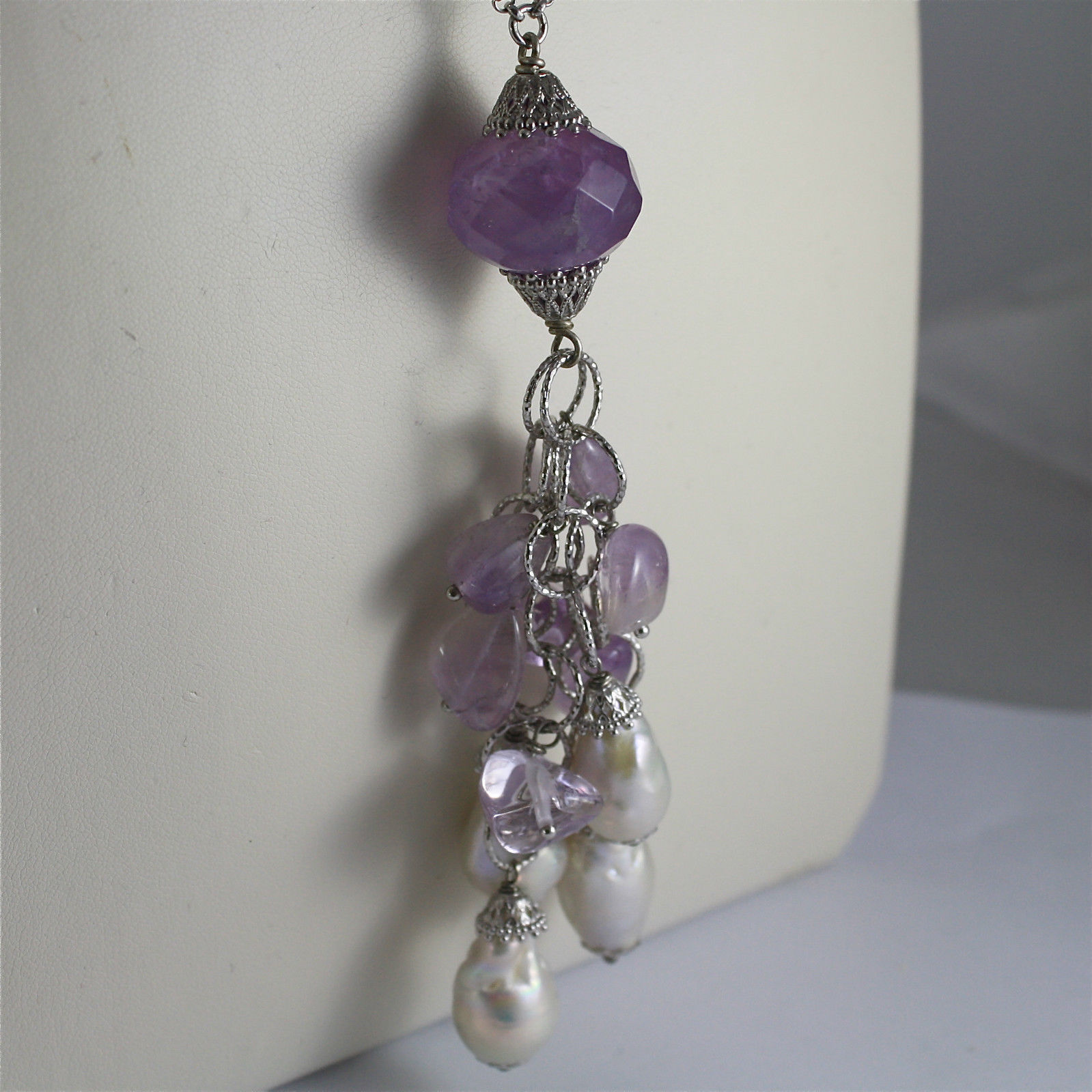 ".925 SILVER RHODIUM NECKLACE, AMETHYST, BAROQUE ""DROP SHAPE"" PEARLS, CRYSTALS."