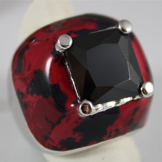 925 SILVER GLAZED RING, BLACK CRiSTAL RADIANT CUT, BLACK AND RED