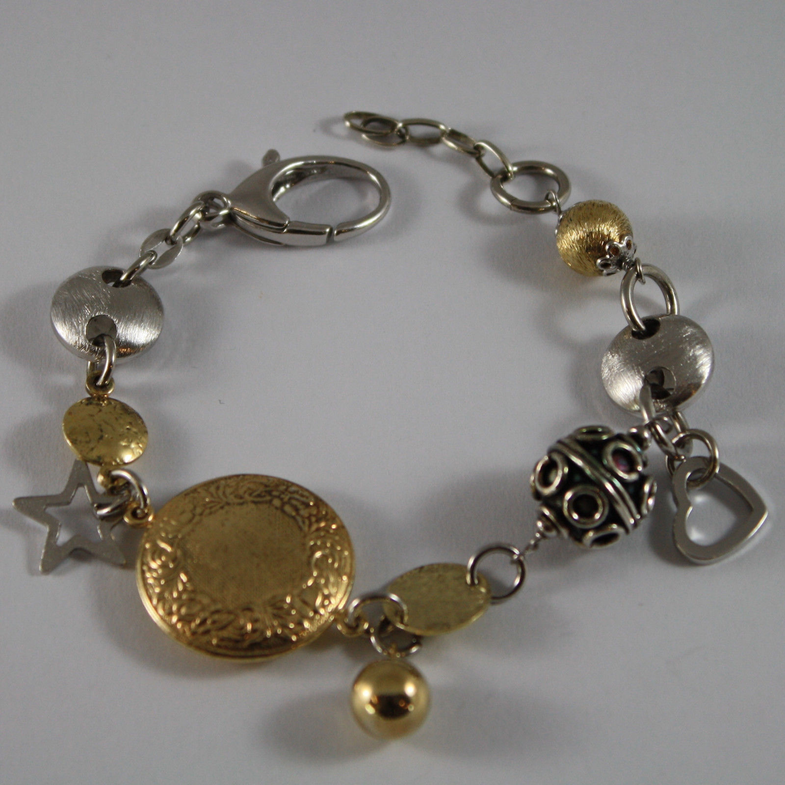 .925 RHODIUM SILVER AND YELLOW GOLD PLATED BRACELET WITH SPHERES AND CHARMS