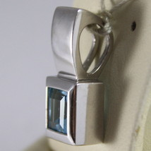 SOLID 18K WHITE GOLD PENDANT, BLUE TOPAZ CT 1.5 PRINCESS CUT MADE IN ITALY image 2