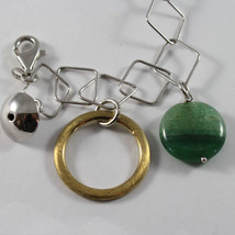 .925 RHODIUM SILVER BRACELET WITH GOLDEN CIRCLE, GREEN AGATE AND SILVER SPHERE image 2