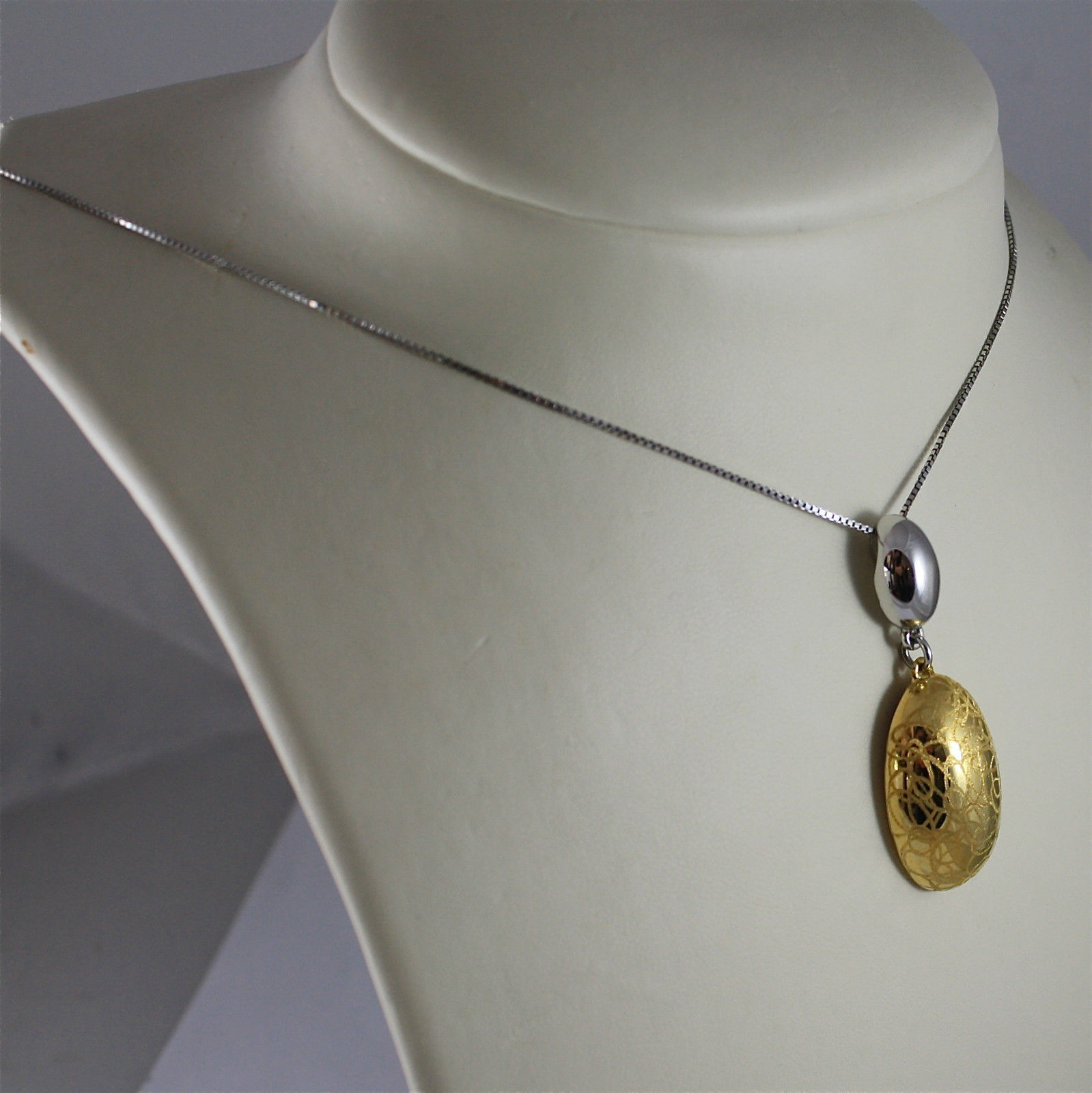 .925 RHODIUM SILVER NECKLACE, GOLD PLATED PENDANT, OVAL SHAPED, VENETIAN MESH.