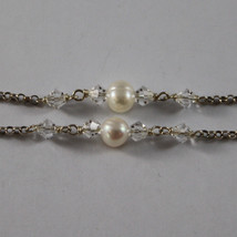 .925 RHODIUM SILVER MULTI STRAND NECKLACE WITH TRANSPARENT CRYSTALS AND PEARLS image 4