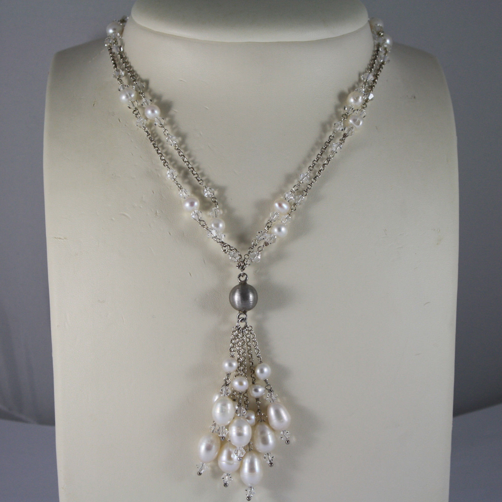 .925 RHODIUM SILVER MULTI STRAND NECKLACE WITH TRANSPARENT CRYSTALS AND PEARLS