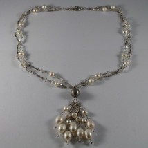 .925 RHODIUM SILVER MULTI STRAND NECKLACE WITH TRANSPARENT CRYSTALS AND PEARLS image 2