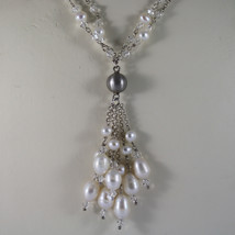 .925 RHODIUM SILVER MULTI STRAND NECKLACE WITH TRANSPARENT CRYSTALS AND PEARLS image 3