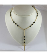 18K 750 YELLOW GOLD CROSS PENDANT, NECKLACE WITH ONYX, MADE IN ITALY - $815.96