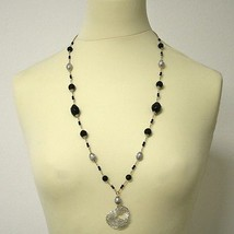 SILVER LONG NECKLACE WITH ONYX AND PEARLS image 2