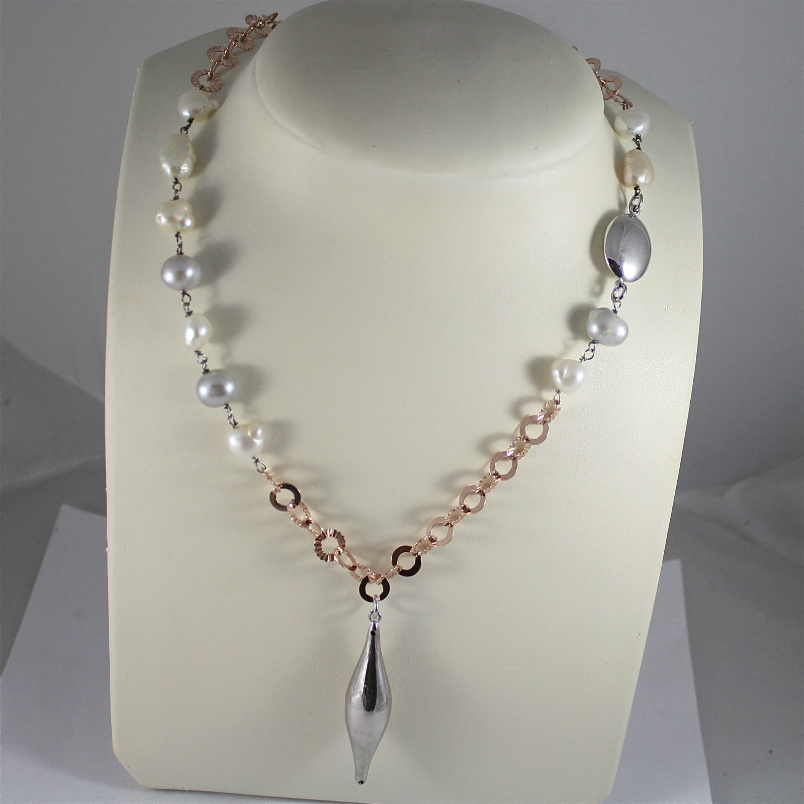 .925 RHODIUM SILVER NECKLACE, BAROQUE PEARLS, ROSE GOLD PLATED RING CHAIN, FUSE.