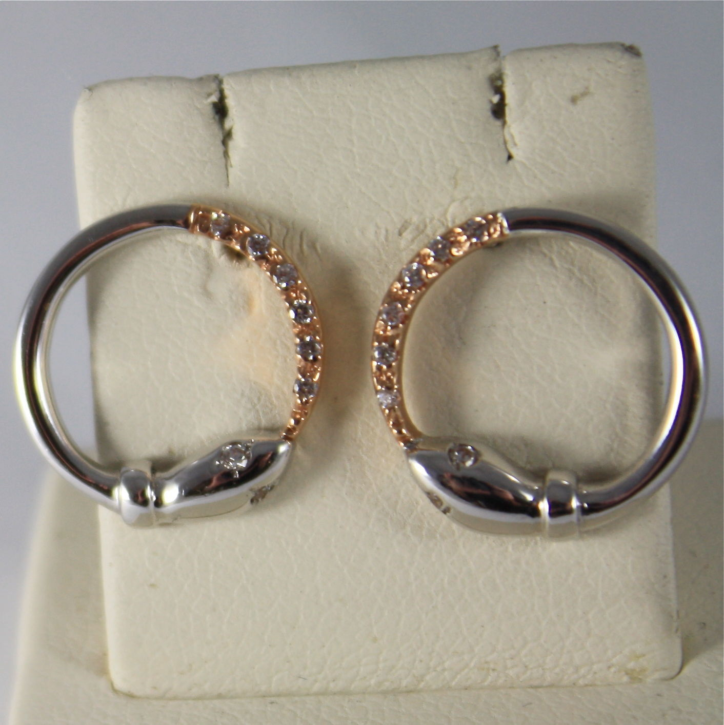 SOLID 18K WHITE AND ROSE GOLD PENDANT EARRINGS, HOOP, SNAKE, MADE IN ITALY
