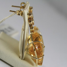SOLID 18K YELLOW GOLD EARRINGS, HEART, DIAMOND, CITRINE FLOWER CUT MADE IN ITALY image 2