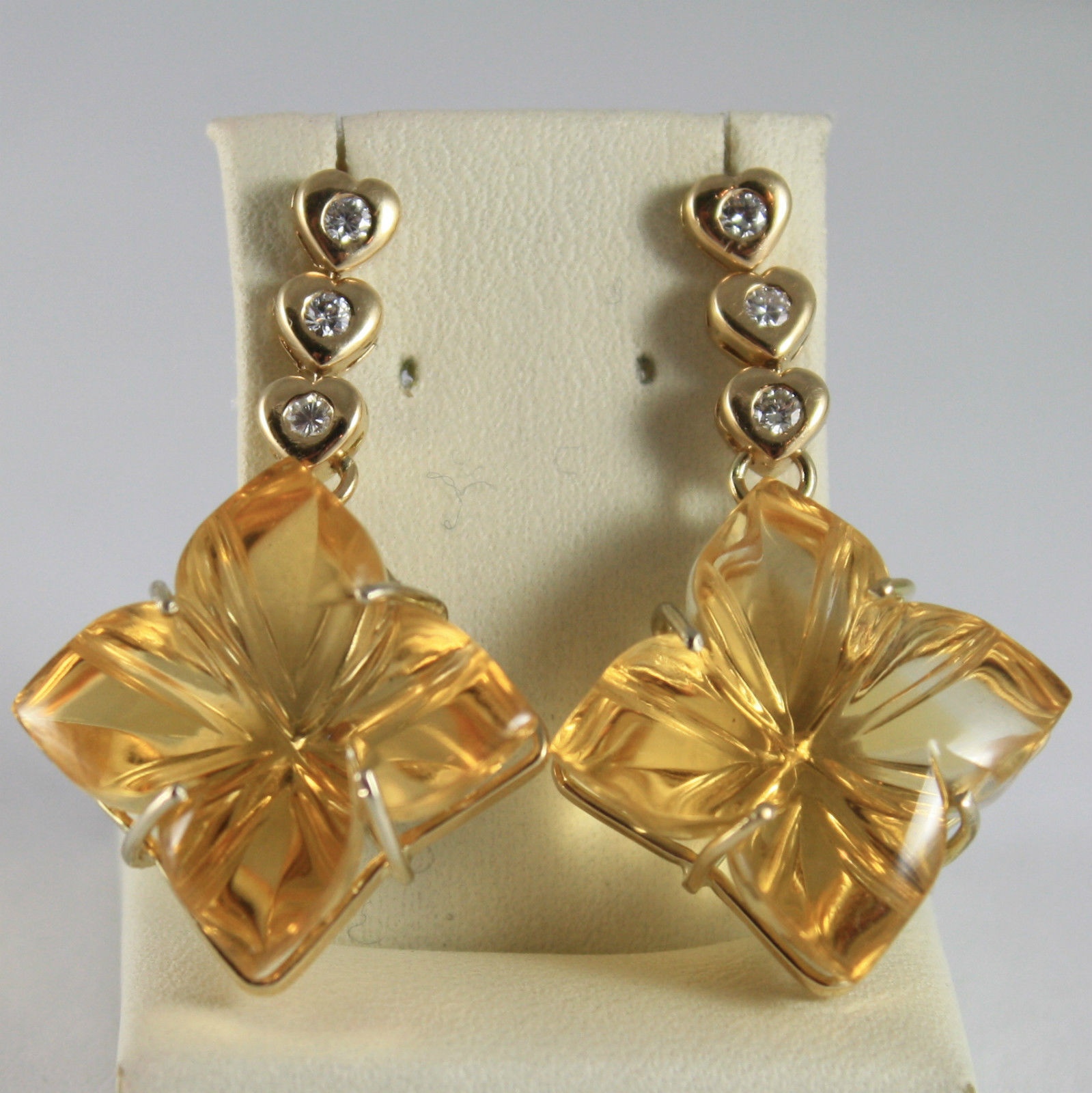 SOLID 18K YELLOW GOLD EARRINGS, HEART, DIAMOND, CITRINE FLOWER CUT MADE IN ITALY