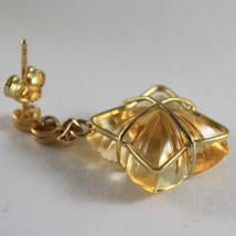 SOLID 18K YELLOW GOLD EARRINGS, HEART, DIAMOND, CITRINE FLOWER CUT MADE IN ITALY image 3