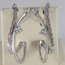 SOLID 18K WHITE GOLD PENDANT EARRINGS, WAVE WITH ZIRCONIA MADE IN ITALY image 1
