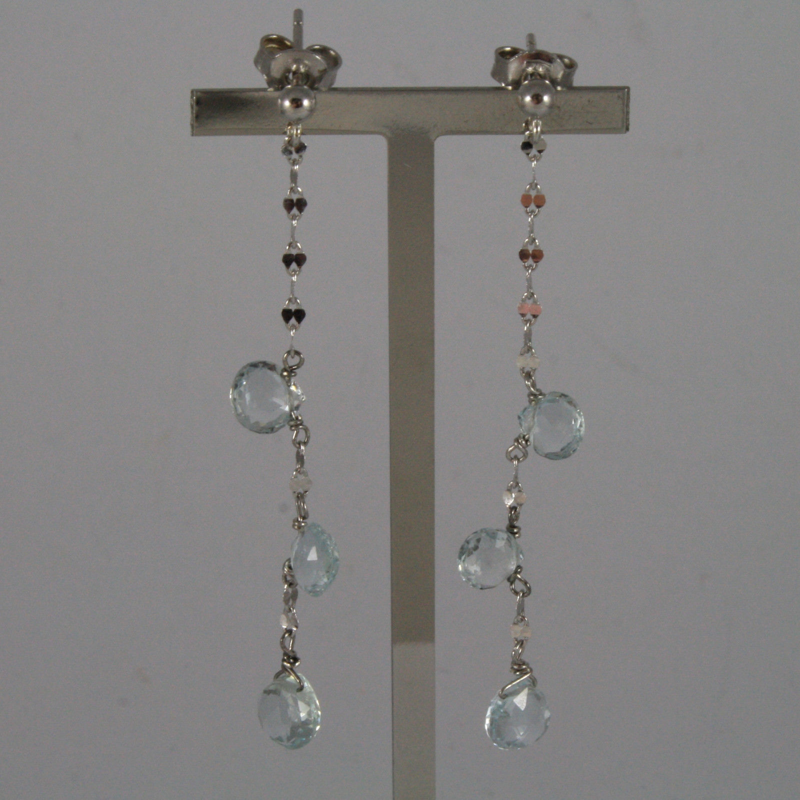 SOLID 18K WHITE GOLD EARRINGS, WITH DROP OF AQUAMARINE LENGTH 2,28 IN