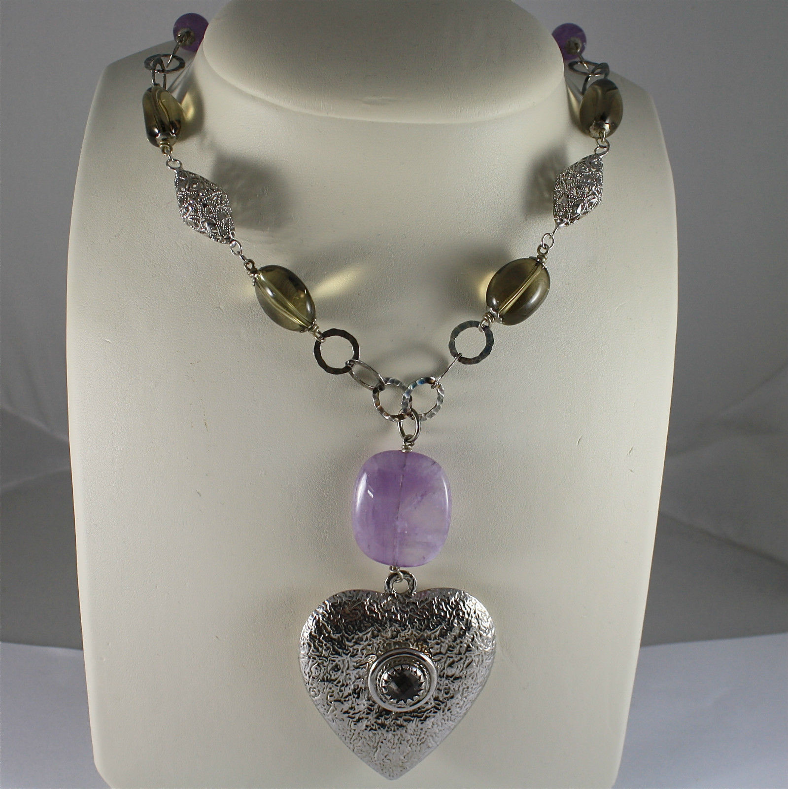 .925 SILVER RHODIUM NECKLACE, AMETHYST, SMOKED QUARTZ, HEART PENDANT, 23,62 In.
