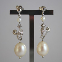 SOLID 18K WHITE GOLD EARRINGS, WITH WHITE PEARL AND ZIRCONIA, LENGTH 1,69 IN