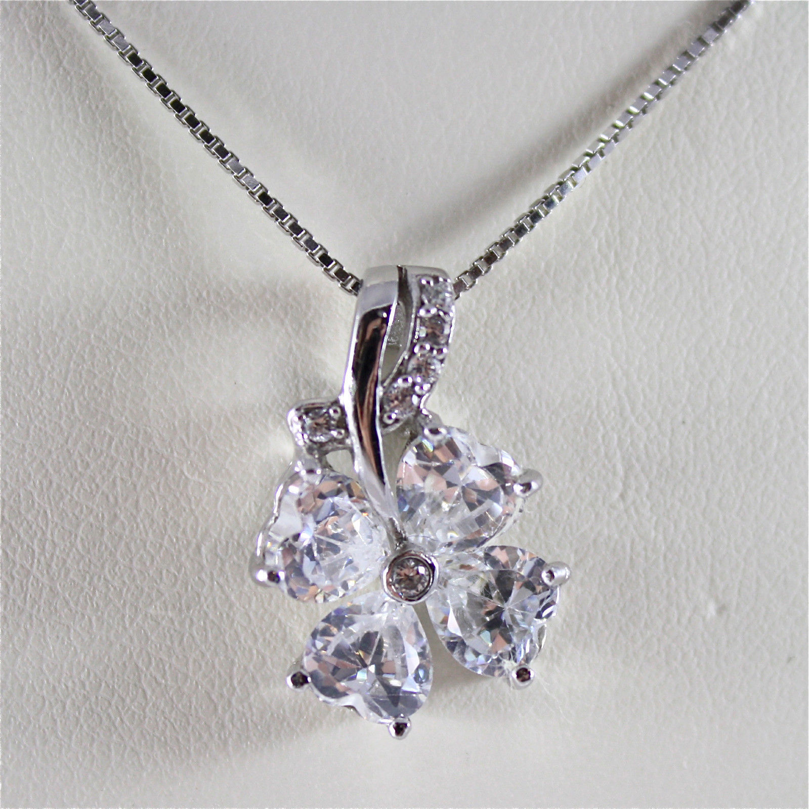 .925 RHODIUM SILVER NECKLACE, LUCKY FOUR-LEAF CLOVER, FACETED ZIRCONIA