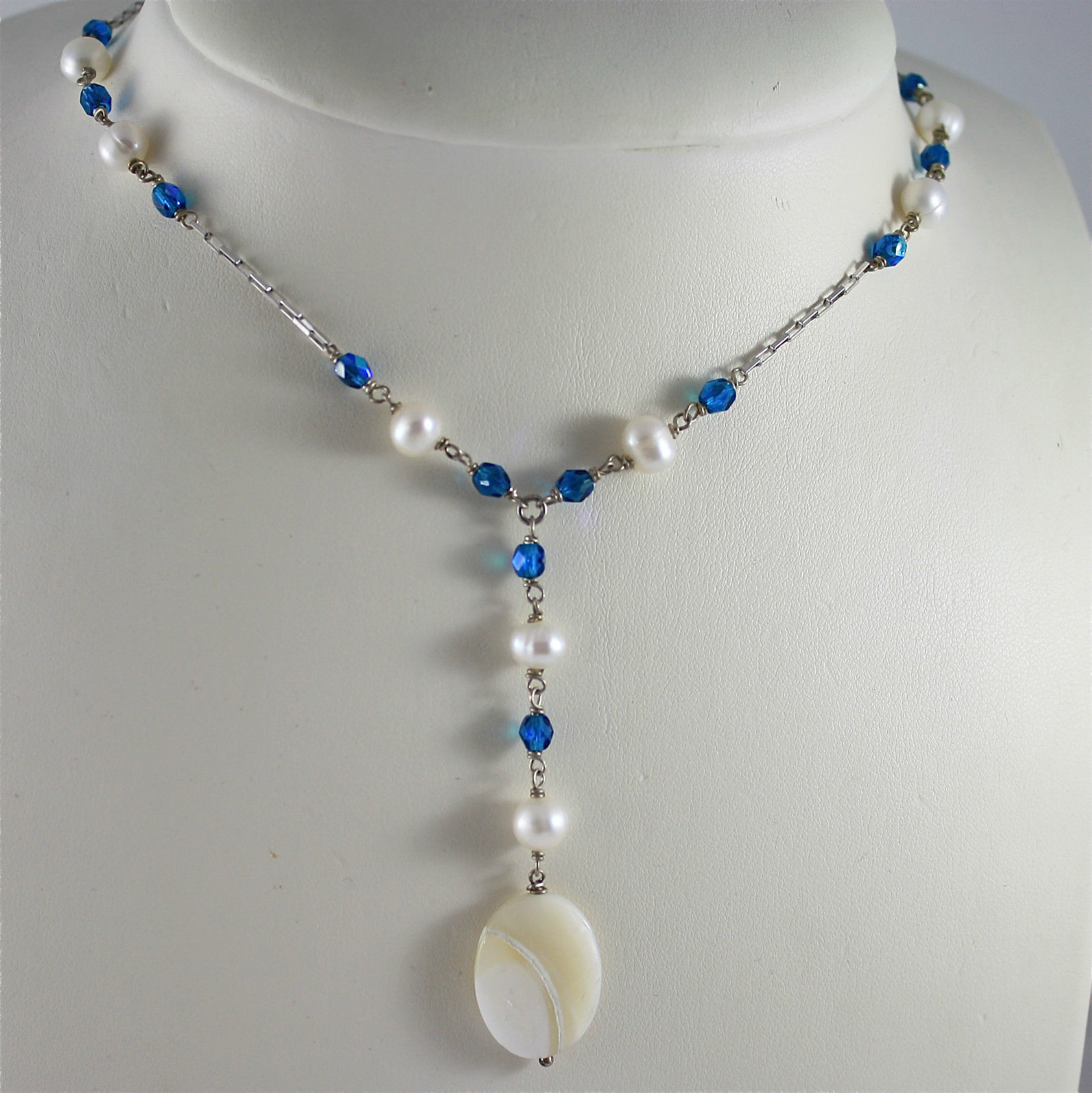.925 RHODIUM SILVER NECKLACE WITH BLUE FACETED CRISTAL, WHITE PEARLS, SHELL DROP