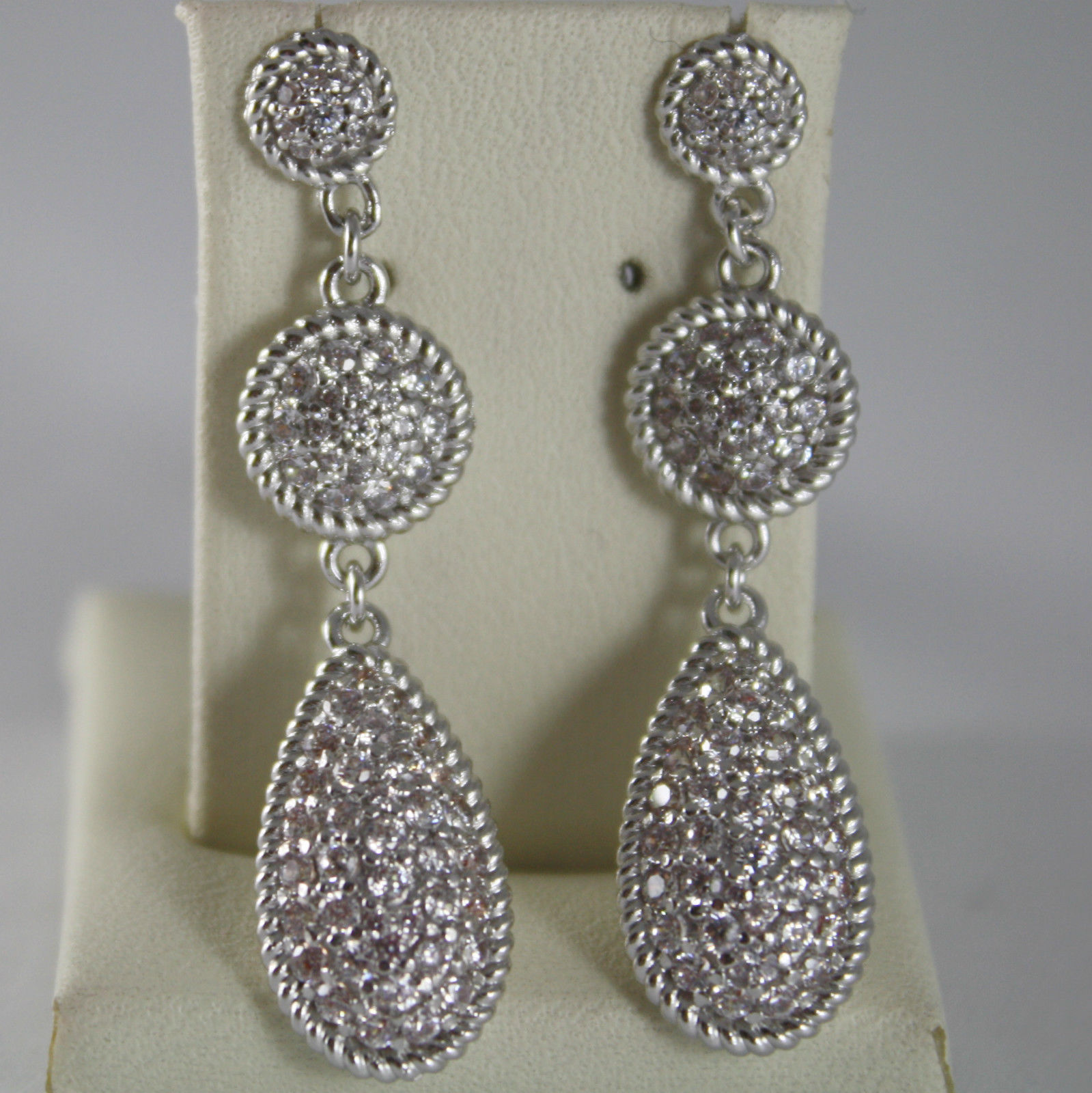 RHODIUM BRONZE EARRINGS, DROP CUBIC ZIRCONIA B14OBB20, BY REBECCA MADE IN ITALY