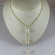 18K YELLOW GOLD NECKLACE PENDANT, WHITE ROSE PEARL DIAMETER 1,1 CM MADE IN ITALY