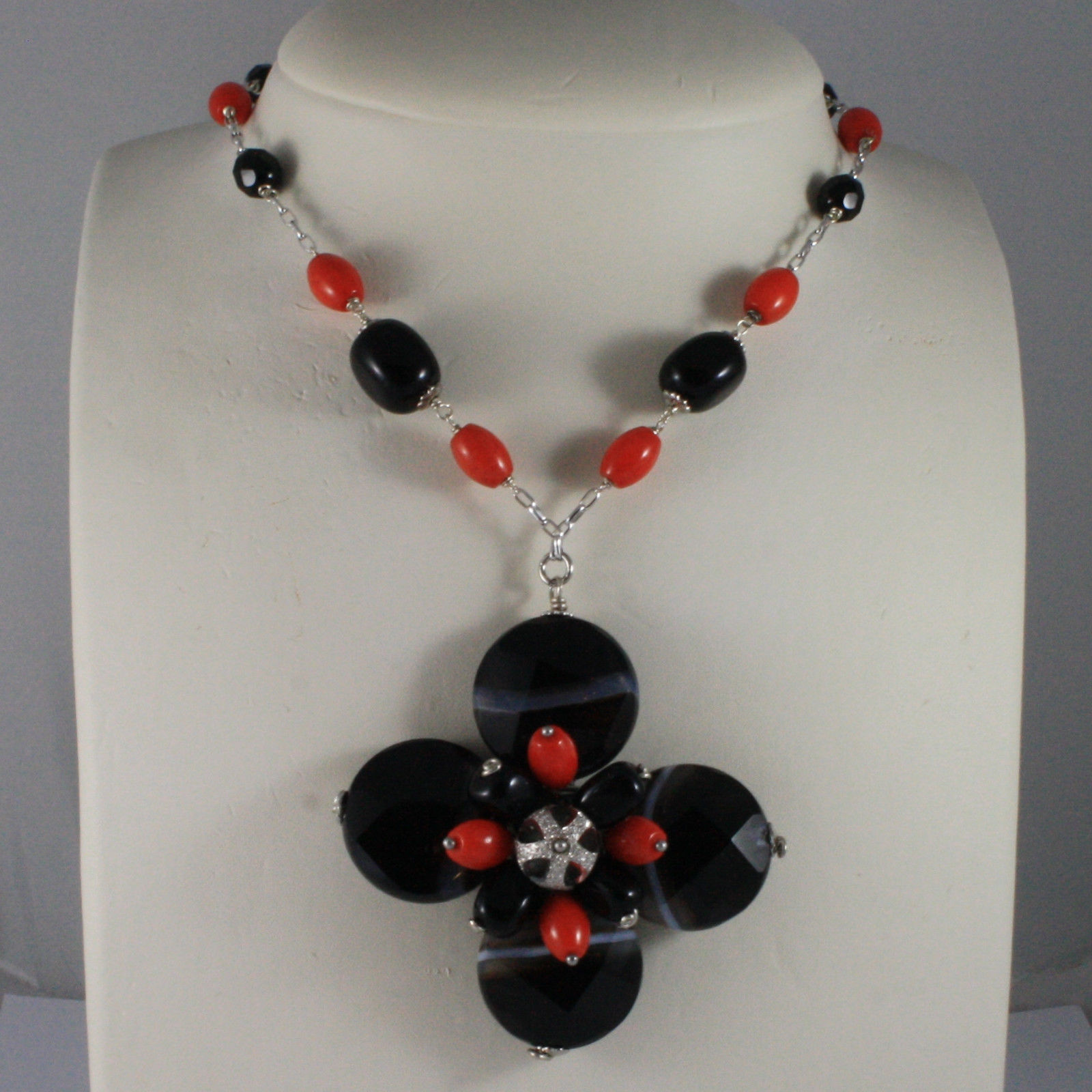 .925 SILVER RHODIUM NECKLACE WITH BLACK ONYX, BROWN AGATE AND CORAL BAMBOO