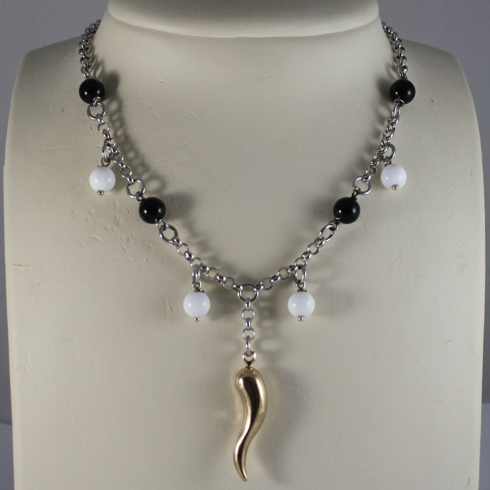 .925 SILVER RHODIUM NECKLACE WITH BLACK ONYX, WHITE AGATE AND GOLDEN HORN