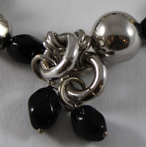 .925 RHODIUM SILVER AND ELASTIC BRACELET WITH BLACK ONYX AND GOLDEN SPHERE image 3