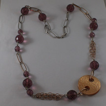 .925 SILVER RHODIUM AND ROSE GOLD PLATED NECKLACE WITH PURPLE CRISTALS AND DISC image 2