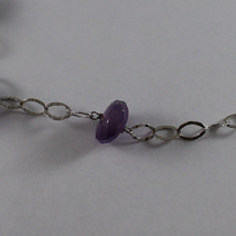 .925 SILVER RHODIUM NECKLACE WITH AMETHYST, PURPLE CRYSTALS AND BLUE QUARTZ image 4