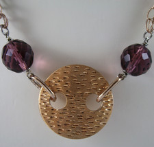 .925 SILVER RHODIUM AND ROSE GOLD PLATED NECKLACE WITH PURPLE CRISTALS AND DISC image 3
