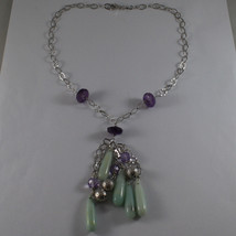 .925 SILVER RHODIUM NECKLACE WITH AMETHYST, PURPLE CRYSTALS AND BLUE QUARTZ image 2