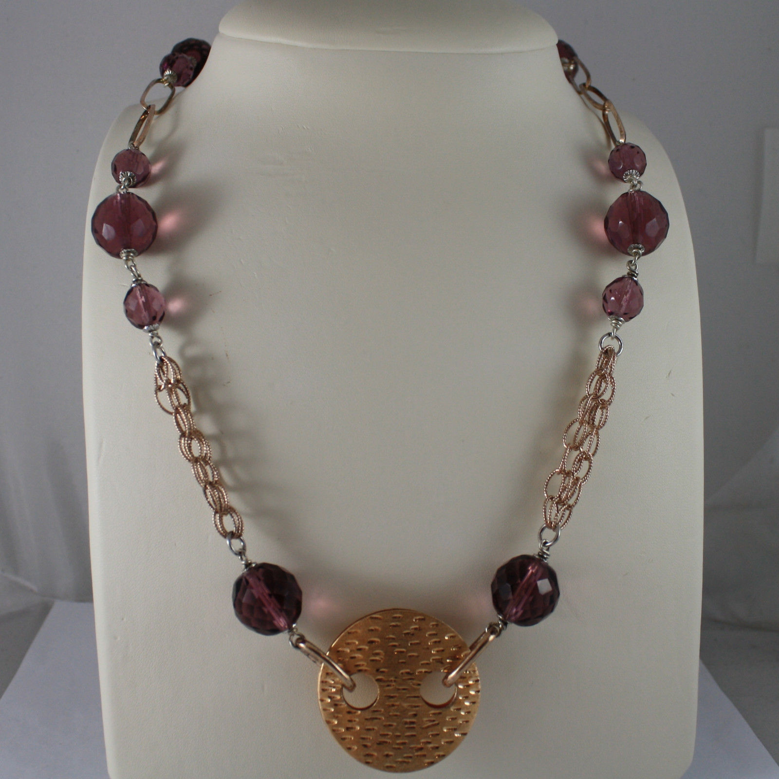 .925 SILVER RHODIUM AND ROSE GOLD PLATED NECKLACE WITH PURPLE CRISTALS AND DISC