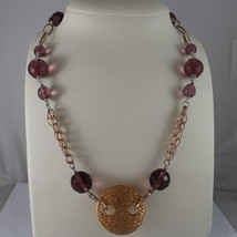 .925 SILVER RHODIUM AND ROSE GOLD PLATED NECKLACE WITH PURPLE CRISTALS AND DISC image 1