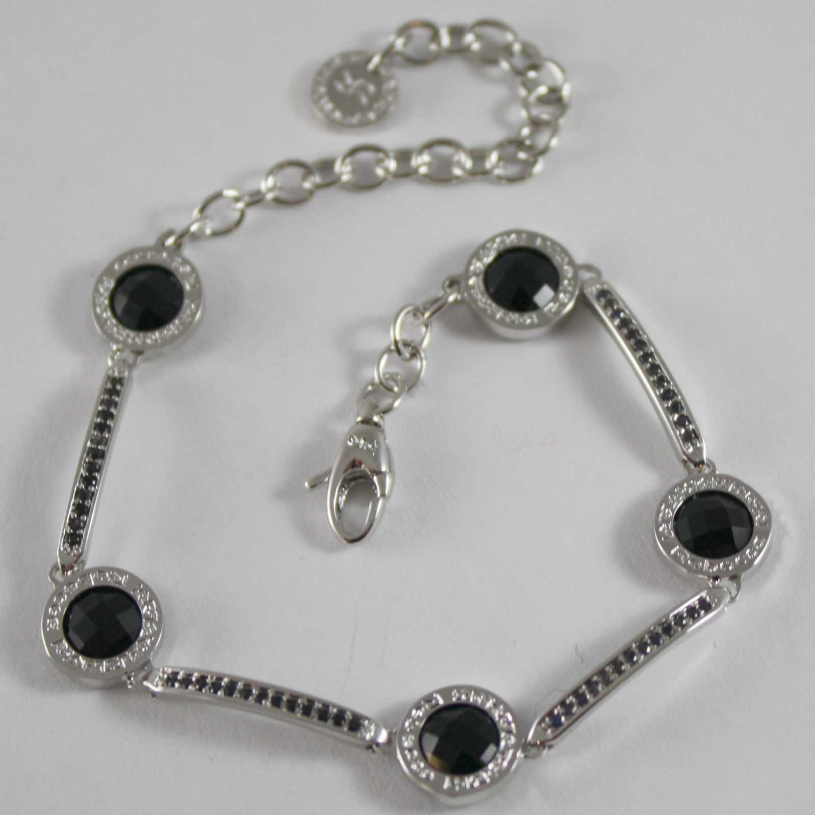 RHODIUM BRONZE BRACELET SEMI RIGID BLACK TENNIS B14BBN36, REBECCA MADE IN ITALY