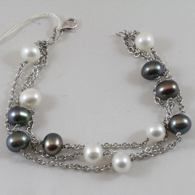 18K WHITE TREE WIRE GOLD BRACELET WITH BLACK AND WHITE PEARLS, MADE IN ITALY