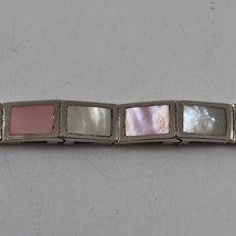 .925 RHODIUM SILVER BRACELET WITH RECTANGLES OF MOTHER OF PEARL WHITE AND PINK image 2