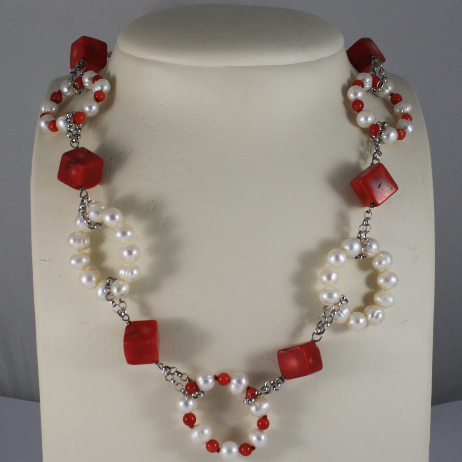 .925 SILVER RHODIUM NECKLACE WITH WHITE PEARLS AND RED CORAL BAMBOO