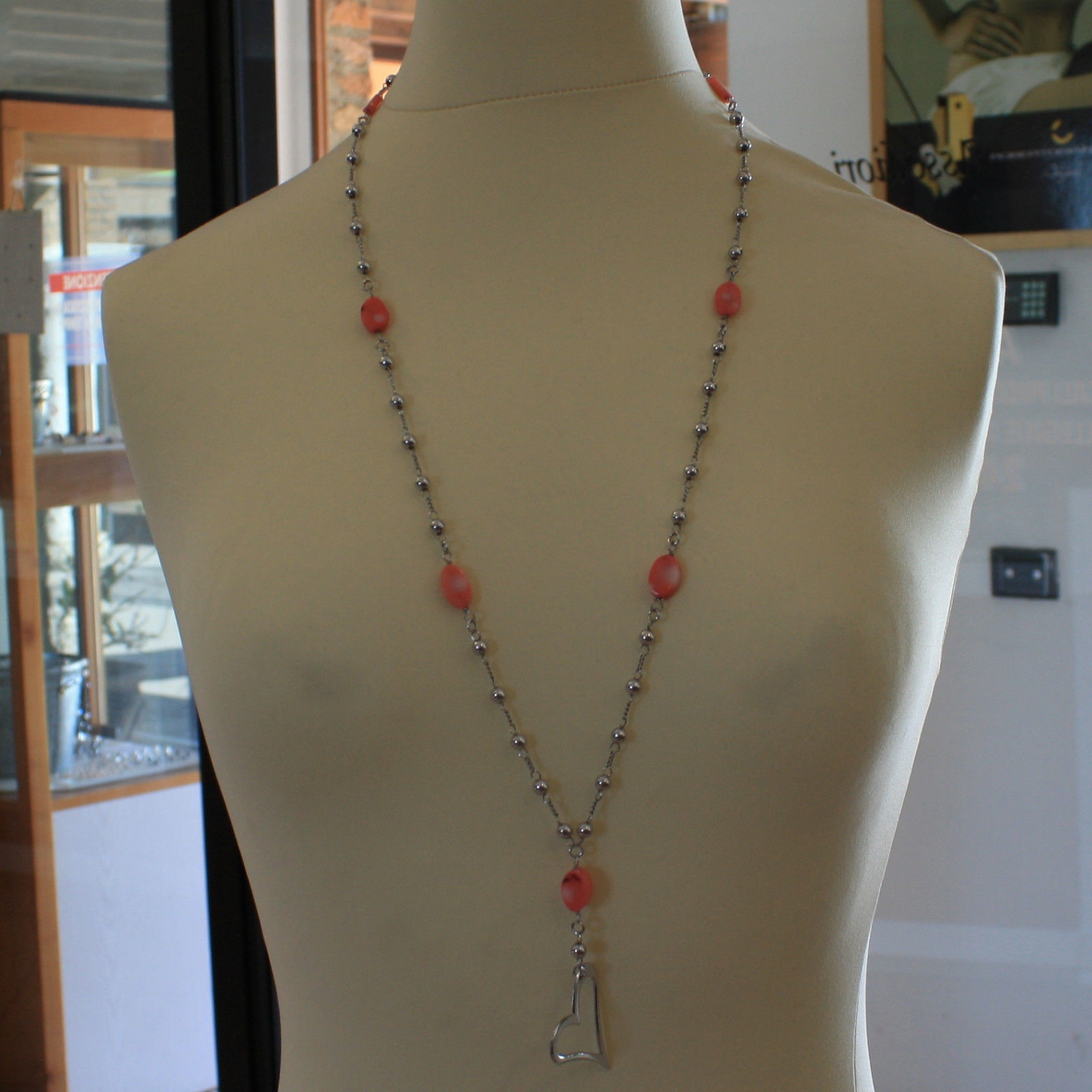 .925 SILVER RHODIUM NECKLACE WITH OVAL CORAL BAMBOO, SILVER SPHERES AND HEART
