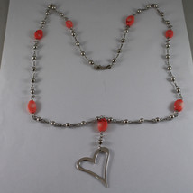.925 SILVER RHODIUM NECKLACE WITH OVAL CORAL BAMBOO, SILVER SPHERES AND HEART image 2